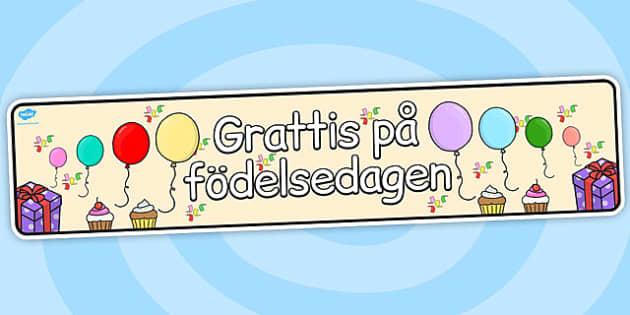 Swedish Happy Birthday Display Banner - swedish, display, banner
