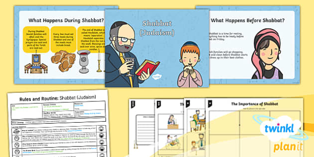 PlanIt - RE Year 2 - Rules and Routines Lesson 3: Shabbat (Judaism) Lesson Pack - RE Rules and Routines, re, religious education, shabbat, judaism, planning, challah, candles