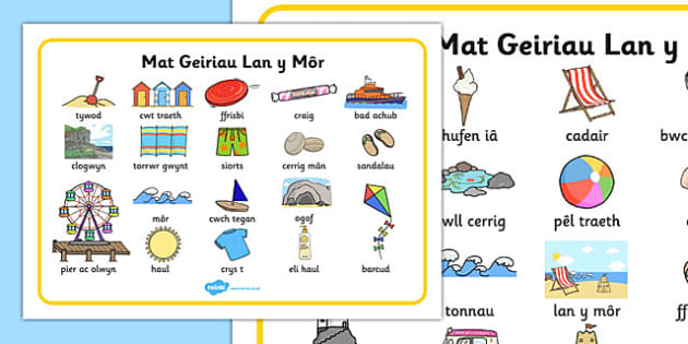 Mat Geiriau Lan y Môr - welsh, cymraeg, Mat Geiriau, Lan y Môr, ysgrifennu, thema.
