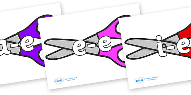 Modifying E Letters on Scissors - Modifying E, letters, modify, Phase 5, Phase five, alternative spellings for phonemes, DfES letters and Sounds