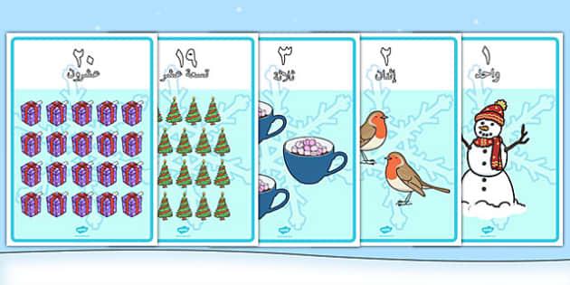 ملصقات الأعداد من 1 إلى 20 مع الكلمات - الشتاء، رياضيات، الأعداد