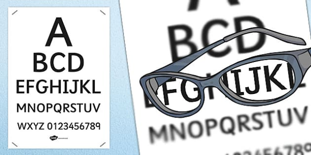 Opticians Role Play Eye Chart - Opticians, optician, eyes, eye, eye doctor, role play, eye chart, display, posters, signs, glasses, specs, contact lenses