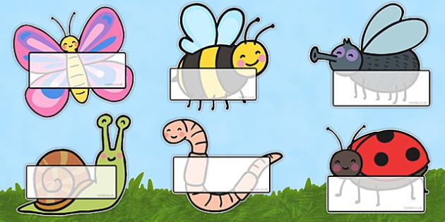 Bichos Auto registro editable - Bichos, insectos, identificación, lista, nombres, etiquetas,Spanish