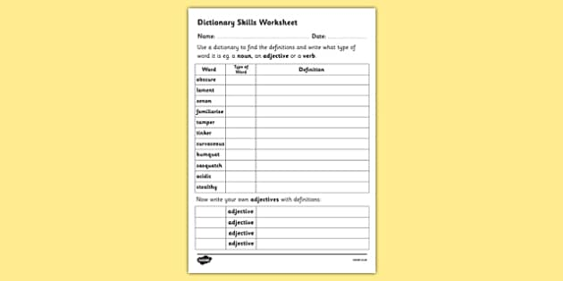 Dictionary Skills Word Table Worksheet - dictionary, dictionary work, dictionary skills, dictionary worksheet, dictionary skills worksheet, ks2 literacy