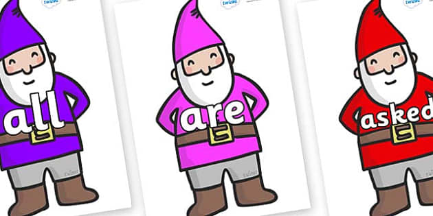 Tricky Words on Gnomes - Tricky words, DfES Letters and Sounds, Letters and sounds, display, words