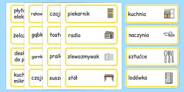 Karty ze słownictwem Kuchnia po polsku - dom, pomieszczenia