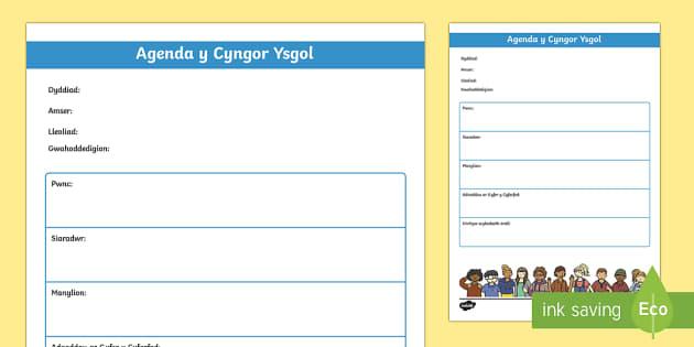 Templed Agenda Cyfarfod y Cyngor Ysgol Taflen Weithgaredd-Welsh - cyngor, ysgol, cyfarfod, agenda,Welsh - cyngor, ysgol, cyfarfod, agenda,Welsh