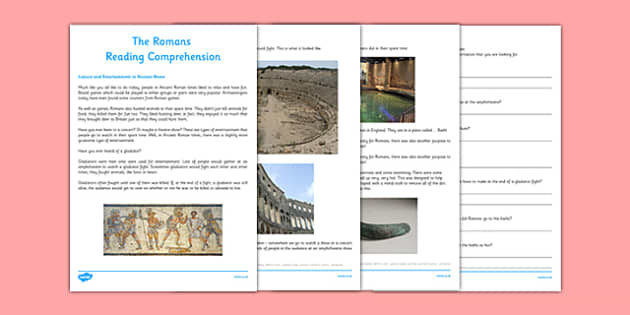 The Romans Leisure Activities Reading Comprehension CfE First Level - CfE, Social Studies, History, Romans, Leisure, Hobbies, Amphitheatre, Gladiators, Baths