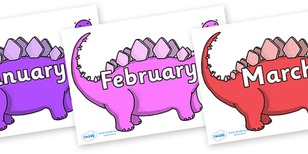 Months of the Year on Stegosaurus - Months of the Year, Months poster, Months display, display, poster, frieze, Months, month, January, February, March, April, May, June, July, August, September