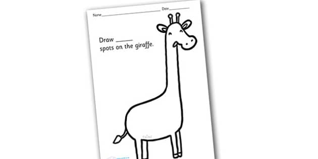 Giraffe Spots Counting and Colouring Sheet - safari, safari animals, on safari, safari colouring sheets, safari counting sheets, safari numeracy, counting