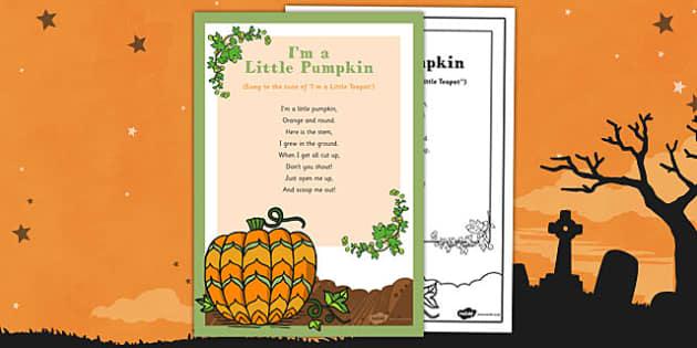 I'm a Little Pumpkin Rhyme - EYFS, Halloween, pumpkin, poem