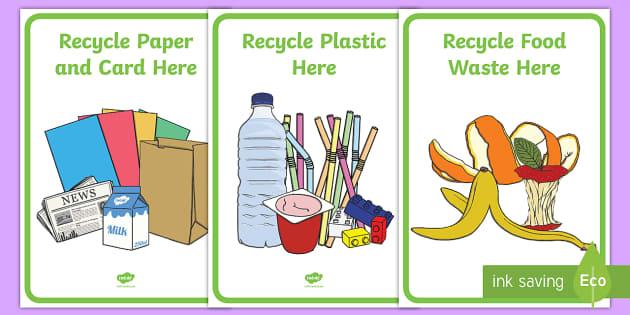 Classroom Recycling Bin Posters Labels - bin, displays, posters
