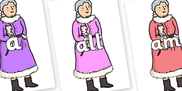 Foundation Stage 2 Keywords on Mrs Clause to Support Teaching on The Jolly Christmas Postman - FS2, CLL, keywords, Communication language and literacy,  Display, Key words, high frequency words, foundation stage literacy, DfES Letters and Sounds, Let