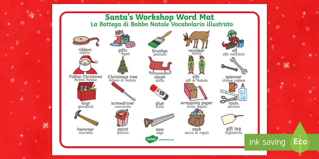 Santa's Workshop Word Mat Italian Translation English/Italian - Santa's Workshop Word Mat - Christmas, xmas, Santas workshop, grotto, Word mat, writing aid, elf, e