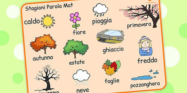 Italian Season Word Mat - italian, season, word mat, word, mat