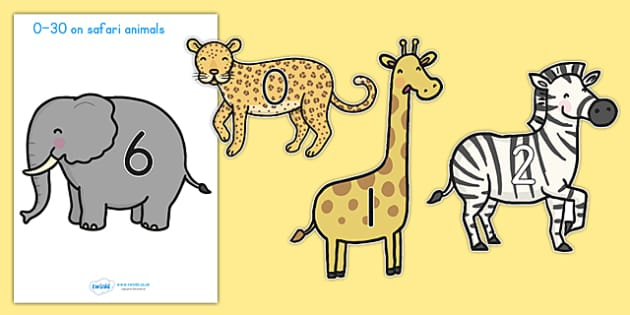 0 30 Numbers On Safari Animals - counting, counting aid, animal