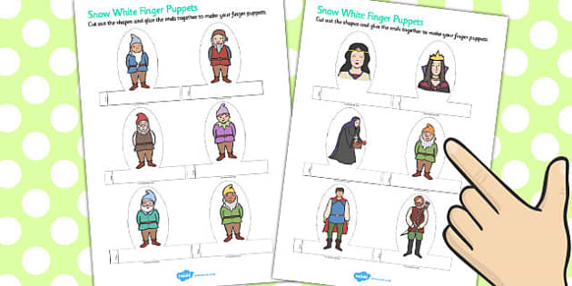 Snow White Finger Puppets - finger puppets, snow white, puppets