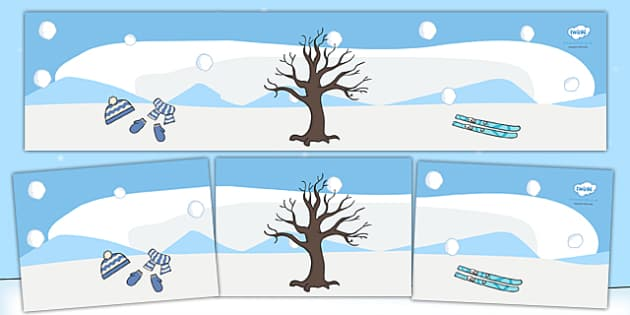 Small World Background (Winter) - Small World, backdrop, background, scenery, small world area, small world display, small world resources, seasons, season, autumn, winter, spring, summer, fall, four seasons, foundation stage, topic