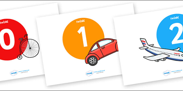 Numbers 0-20 on Transport - Foundation Numeracy, Number recognition, Number flashcards