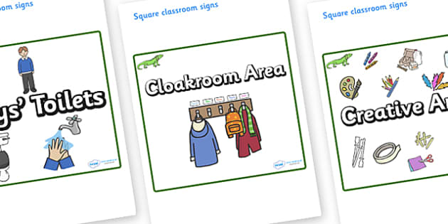 Iguana Themed Editable Square Classroom Area Signs (Plain) - Themed Classroom Area Signs, KS1, Banner, Foundation Stage Area Signs, Classroom labels, Area labels, Area Signs, Classroom Areas, Poster, Display, Areas