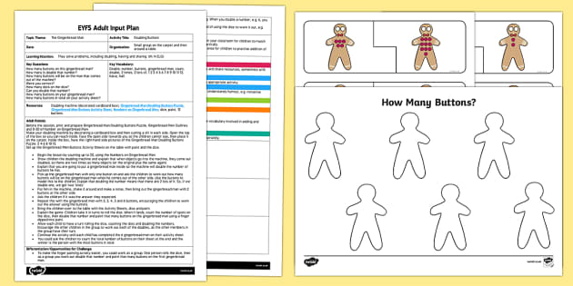 EYFS Doubling Buttons Adult Input Plan and Resource Pack - The Gingerbread Man, Traditional Tales, maths, number, doubling, buttons, finger paints, counting, n
