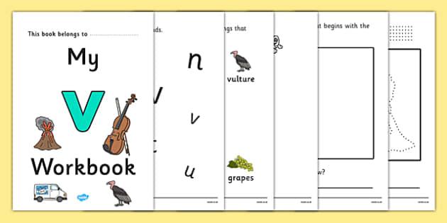 My Workbook v lowercase - workbook, v sound, lowercase, letters, alphabet, activity, handwriting, writing