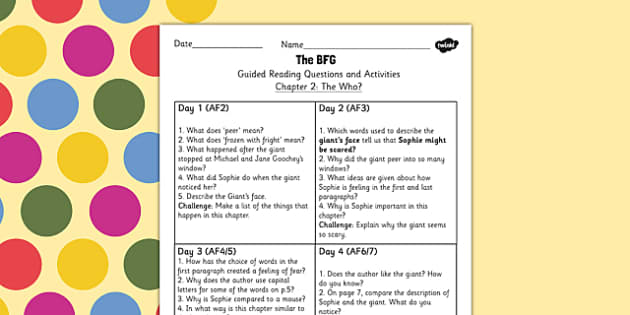 Guided Reading Questions Chapter 2 to Support Teaching on The BFG - bfg, questions, reading
