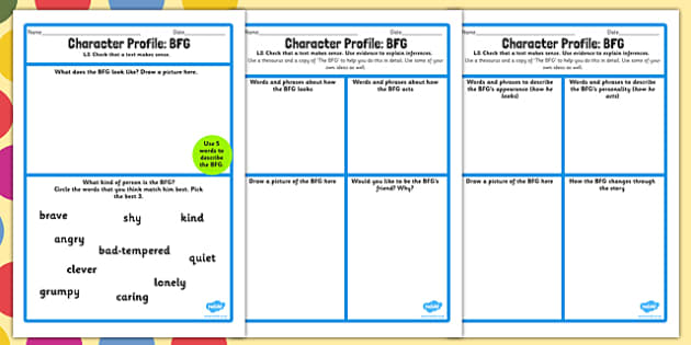 Character Profile Worksheet to Support Teaching on The BFG – Character Building Worksheets