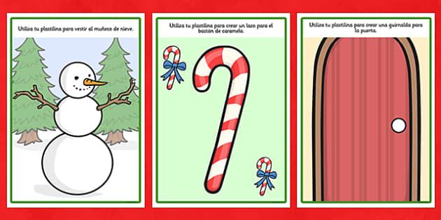 Christmas Playdough Mats Spanish - spanish, christmas, playdough mats, playdough, mats