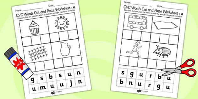 CVC Words Cut and Paste Worksheets u - CVC worksheets, CVC words, literacy, phonics, fine motor, cvc, cutting