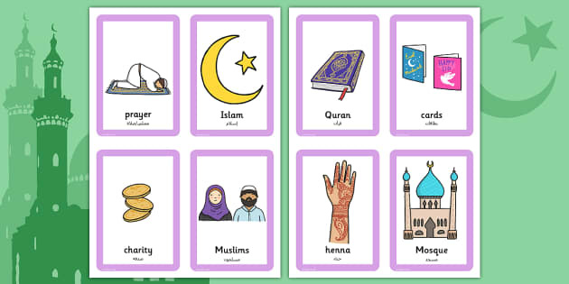 Eid Pairs Matching Game Arabic Translation - arabic, eid, pairs