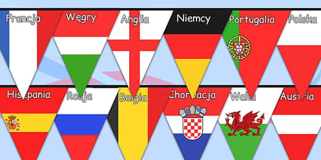 Girlanda z flag państw Euro 2016 po polsku
