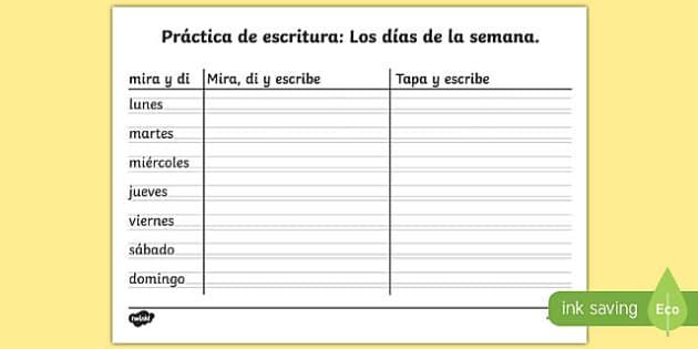 Ficha de copia de los días de la semana - calendario, caligrafía, palabras, buscar, ortografía