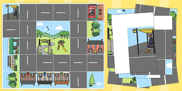 Bee Bot Road and Buildings Mat - activity mat, bee bot activities