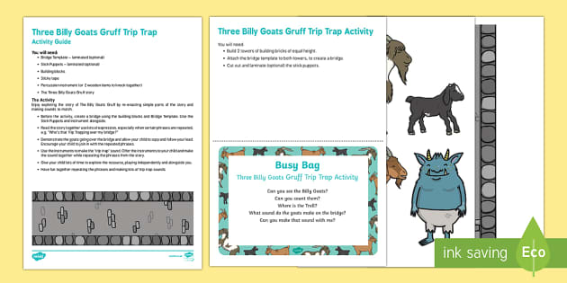 The Three Billy Goats Gruff Trip Trap Activity Busy Bag Resource Pack for Parents