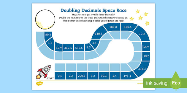 Doubling Decimals With 1 Decimal Place Race Worksheet - race