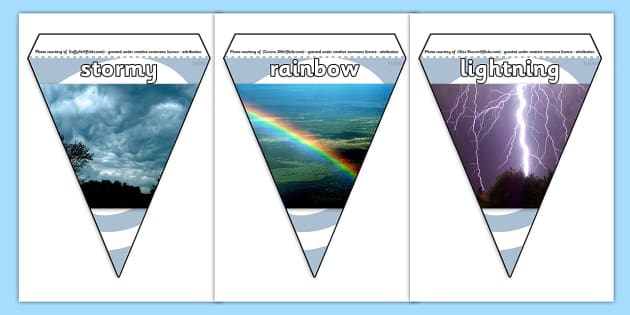 Weather Photo Display Bunting - weather bunting, weather condition bunting, weather photo bunting, weather display bunting, weather photos, weather display