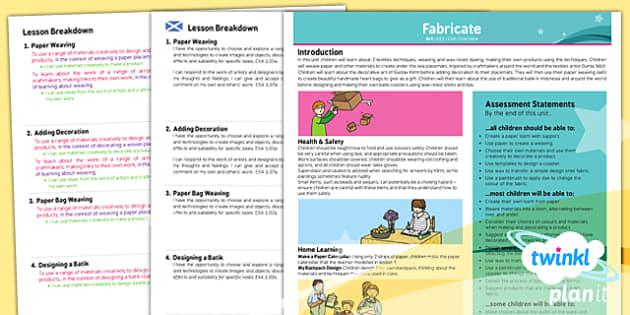 PlanIt - Art KS1 - Fabricate Planning Overview CfE - planit, CfE, batik, art and design, fabric art, textiles