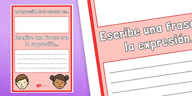 La expresión de la semana es... Poster Spanish - spanish, the expression of the week, expression, week, poster, display
