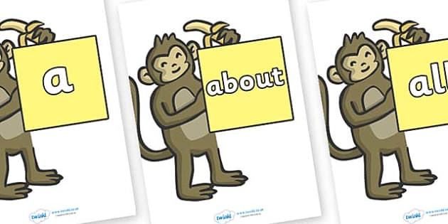 100 High Frequency Words on Monkeys - High frequency words, hfw, DfES Letters and Sounds, Letters and Sounds, display words