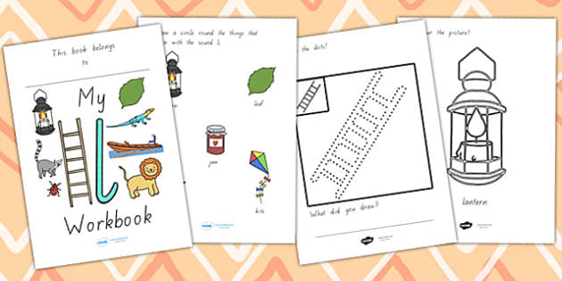 My Workbook L Lowercase - letter formation, writing, tracing