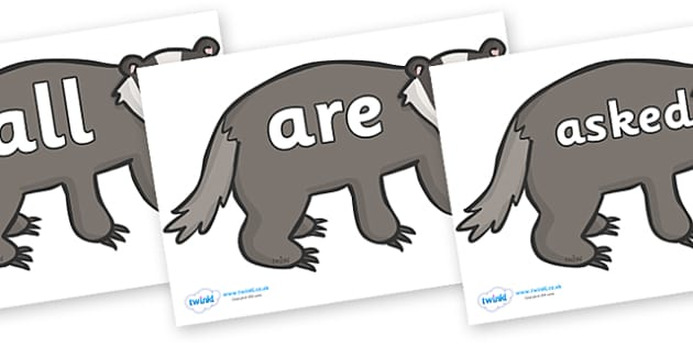 Tricky Words on Badgers - Tricky words, DfES Letters and Sounds, Letters and sounds, display, words