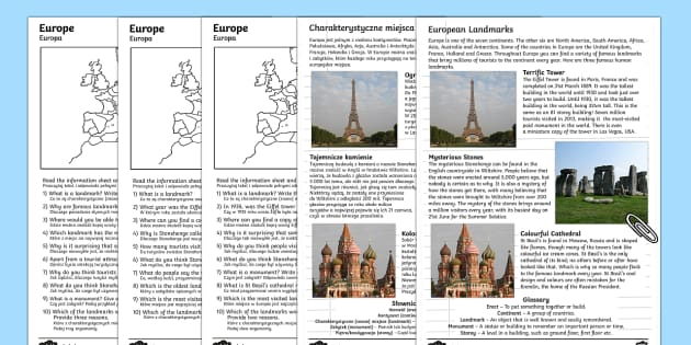 Europe Comprehension Landmarks Activity Sheets English/Polish - Europe Landmarks Reading Comprehension Activity - geography, continent, comprehesion, comprehnsion,