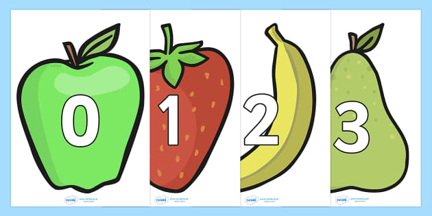 Numbers 0-30 on Fruit - Fruit, Foundation Numeracy, Number recognition, Number flashcards, 0-30, A4, display, apple, orange, satsuma, pear, banana, tangerine, pineapple, grapes