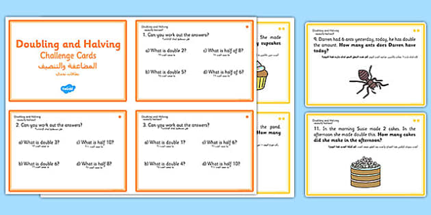 Doubling and Halving Challenge Cards Arabic Translation - arabic, double, math, numeracy