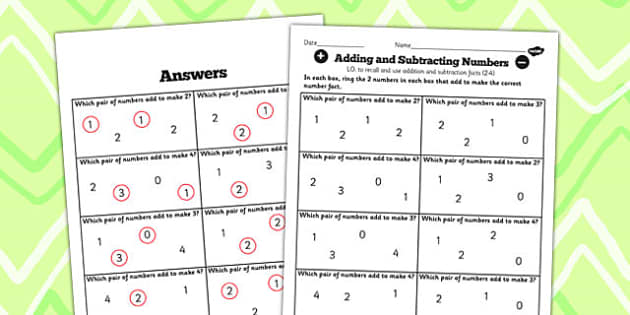 Number Facts Finding Pairs Worksheet 2-4 - number, facts, pairs