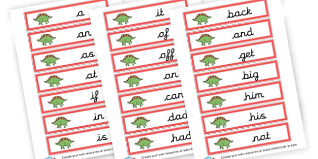 Dinosaurs Phase 2 HFWs - Phase 2 Visual Aids Primary Resources, Phase One, Letters, sounds