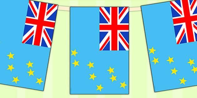 Tuvalu Flag Display Bunting - country, geography, commonwealth