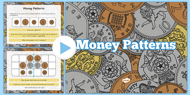 Money Patterns PowerPoint - welsh, cymraeg, Money Patterns, Symmetry, Reasoning in the classroom
