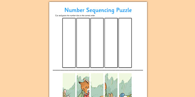 Beatrix Potter Number Sequencing Puzzle - beatrix potter, author, number sequencing puzzle